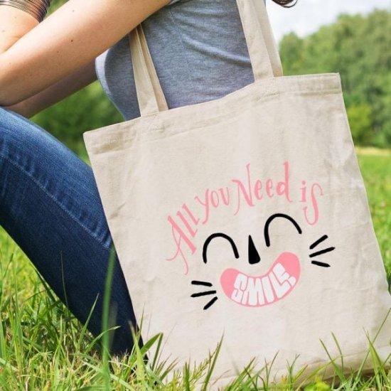 Sacosa Bumbac Personalizata Smile