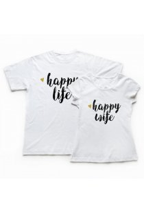 Set 2 Tricouri Cuplu Happy Life and Wife