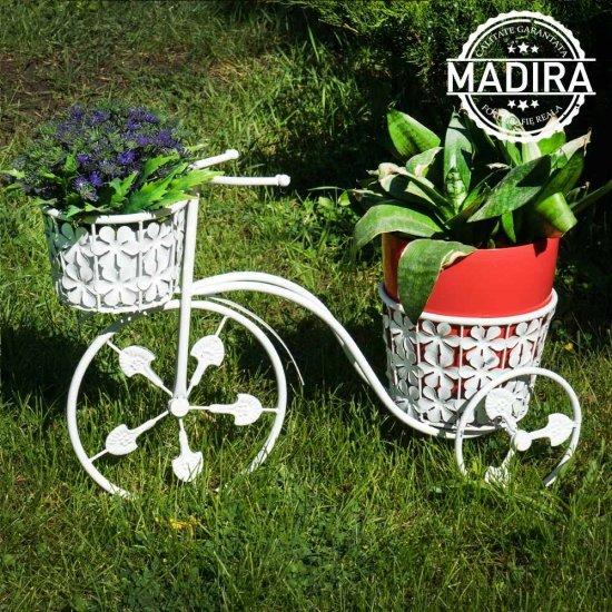 Bicicleta cu doua ghivece albe pentru flori