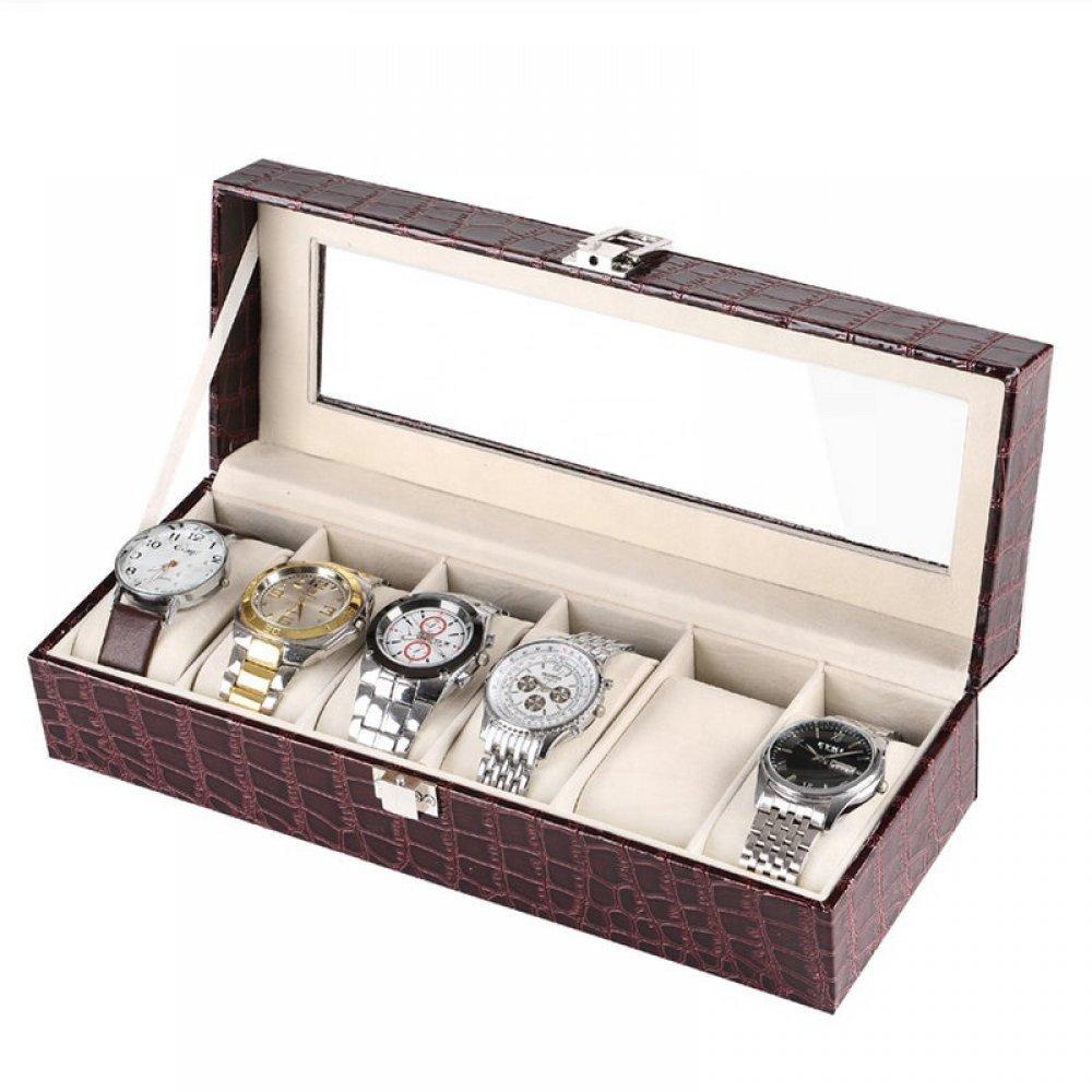 Cutii ceasuri din piele ecologica maro