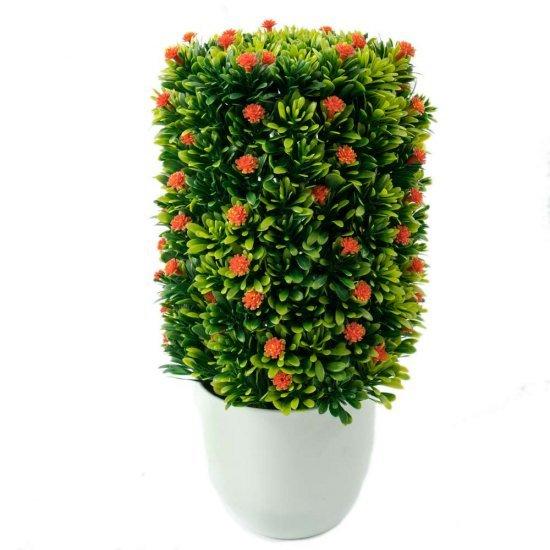 Planta artificiala cu flori portocalii in ghiveci