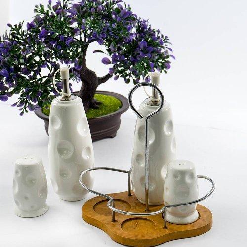 Set oliviera ceramica, 4 piese, cu suport din lemn