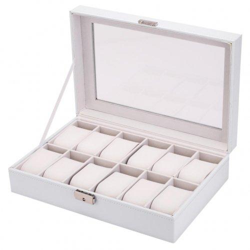 Cutie pentru 12 ceasuri din piele ecologica alba