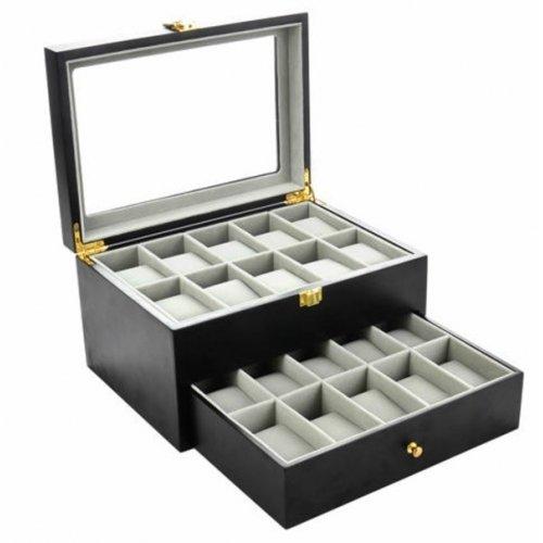 Cutie pentru 20 ceasuri cu doua nivele neagra din lemn