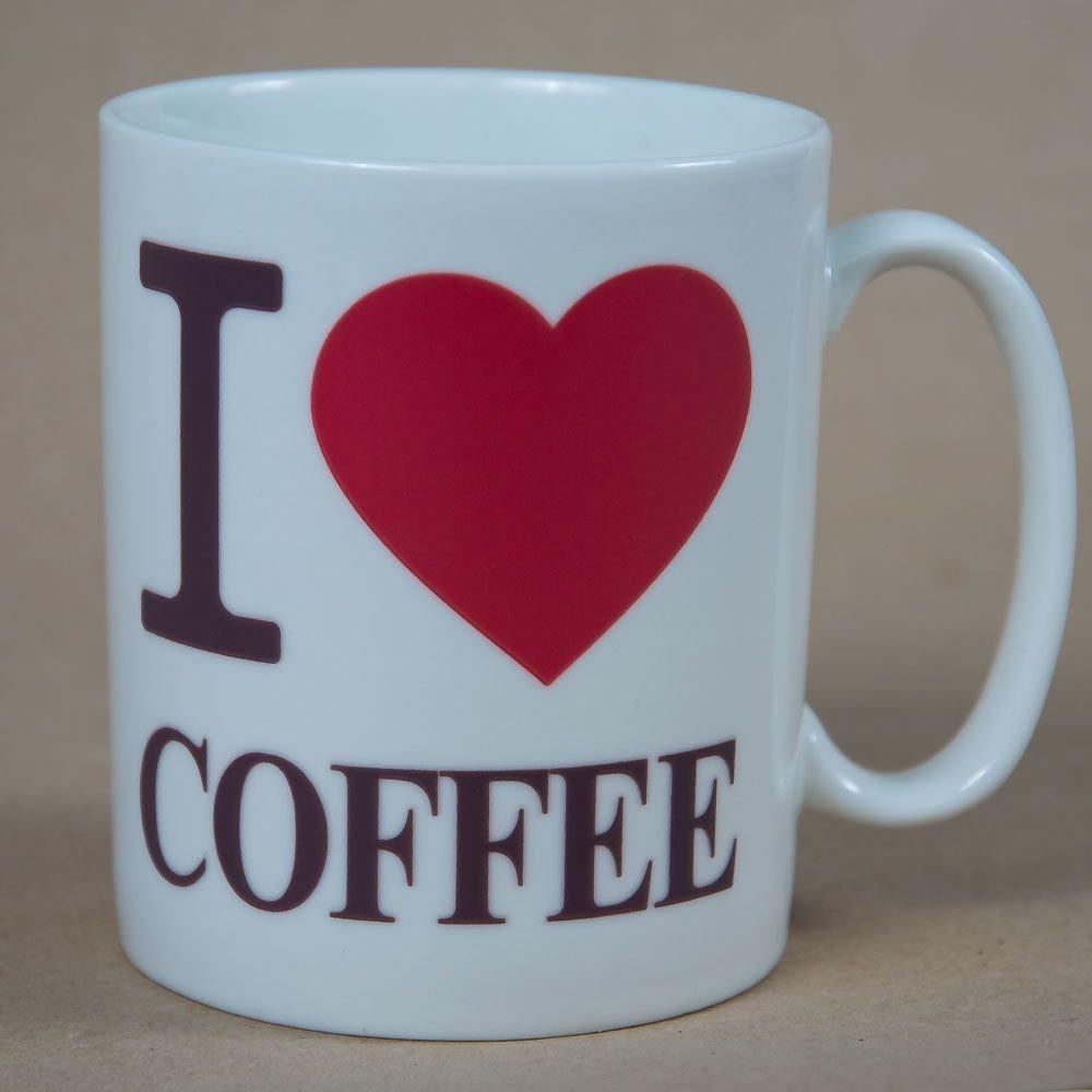 "Cana ""I love coffee"" cu vopsea termosensibila"