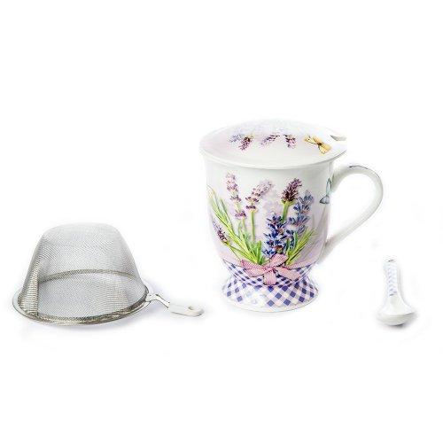 Cana Ceai, Cu Capac Si Sita, Model Flori De Lavanda