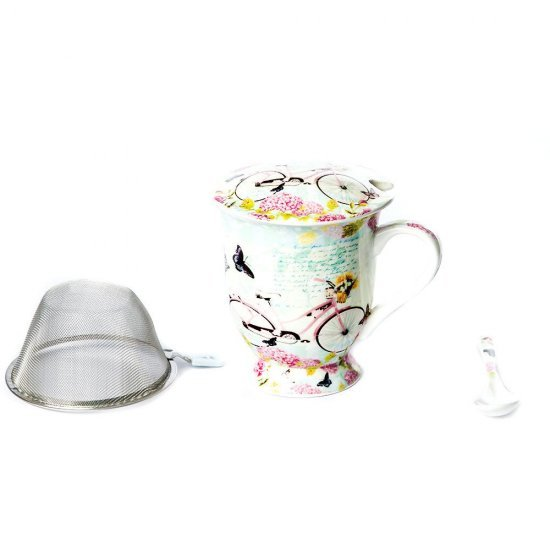 Cana ceai, model bicicleta, cu sita si lingura