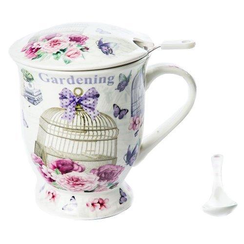 Cana ceai, model colivie si trandafiri, cu lingura si sita incluse