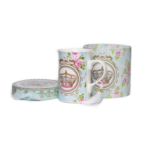 Cana ceramica cu porumbei si trandafiri roz