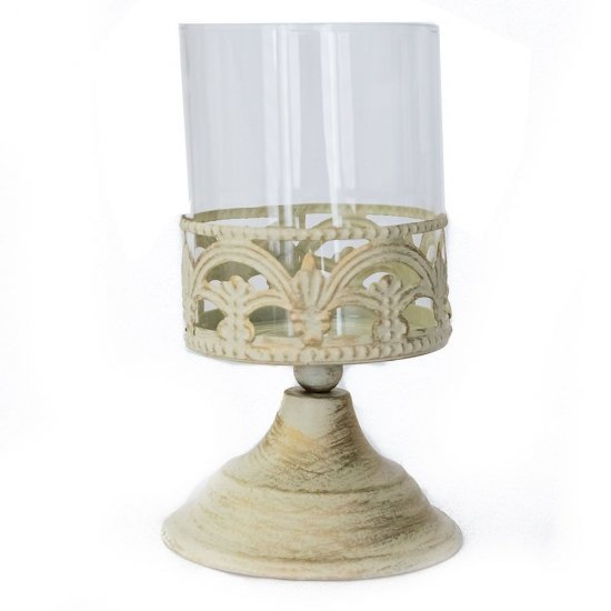 Candela in stil vintage din metal si sticla