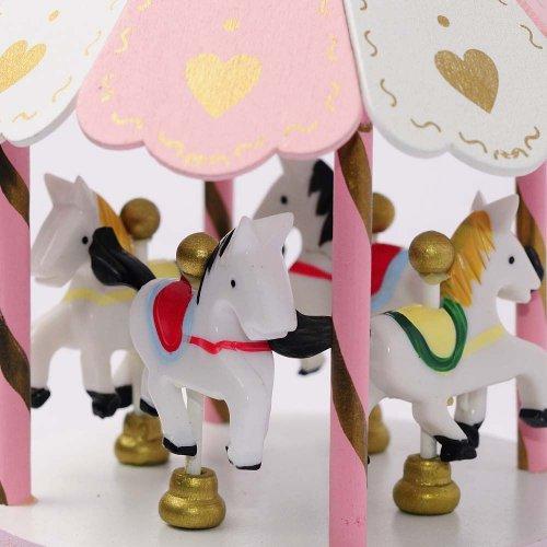 Carusel Muzical Roz Pentru Fetite Cu Caluti Si Inimioare