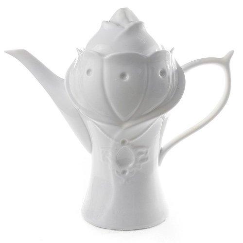 Ceainic alb, din ceramica, in forma de lalea