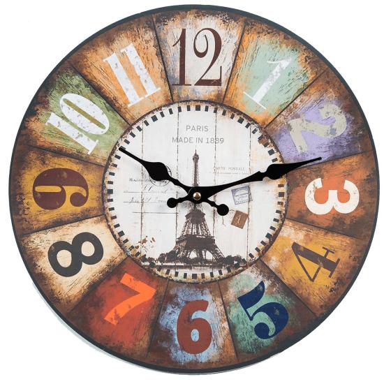 Ceas colorat, de perete, din lemn, cu design vintage parizian