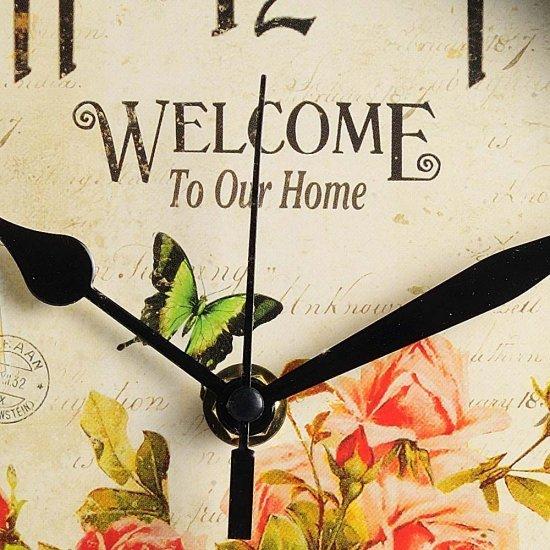 """Ceas de perete """"Welcome to our home"""" cu trandafiri"""