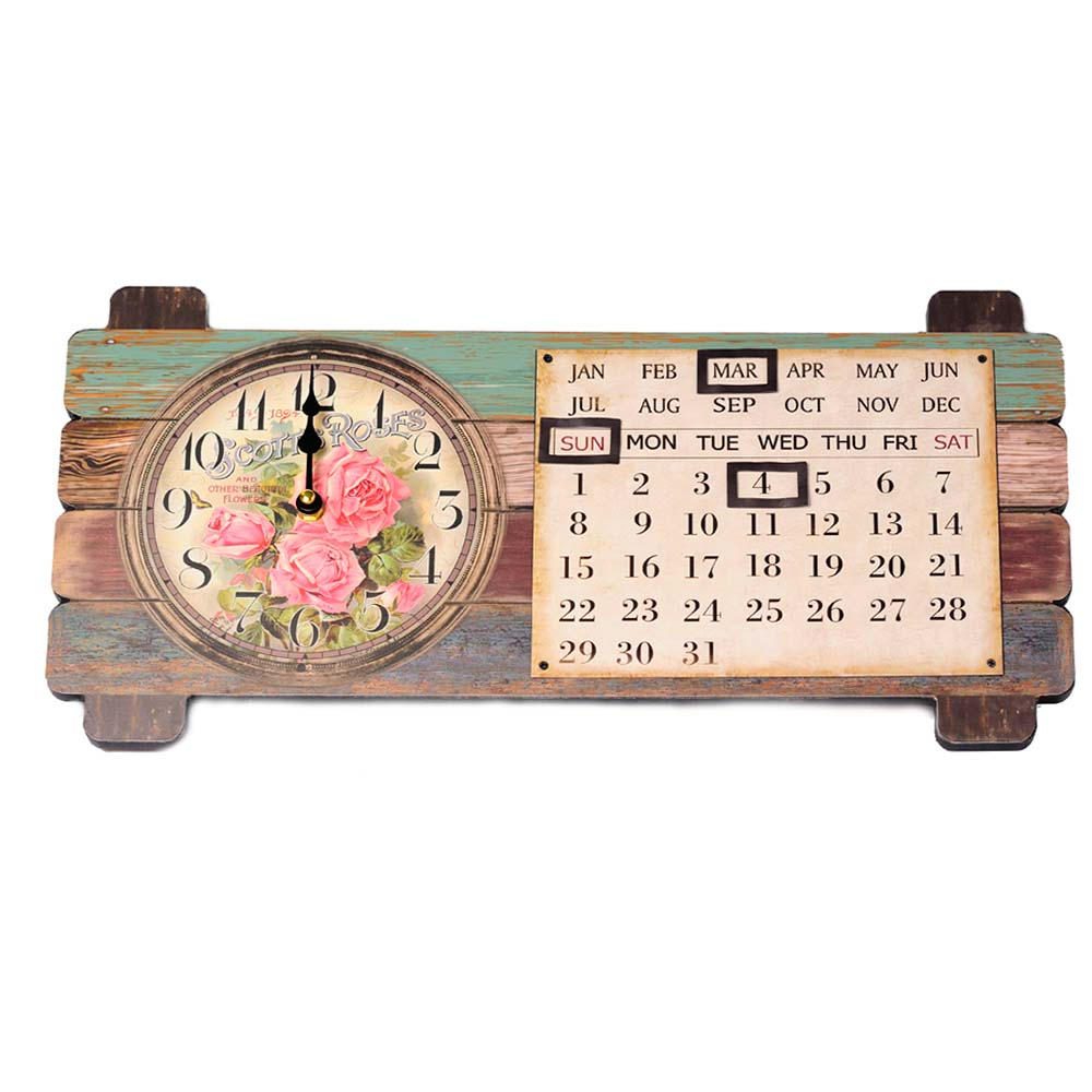 ceas de perete cu calendar magnetic si trandafiri roz
