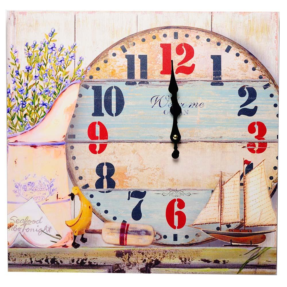 Ceas de perete, model patrat, cu lavanda si barca cu panze