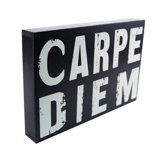 """Cub din lemn """"Carpe Diem"""", obiect decorativ"""