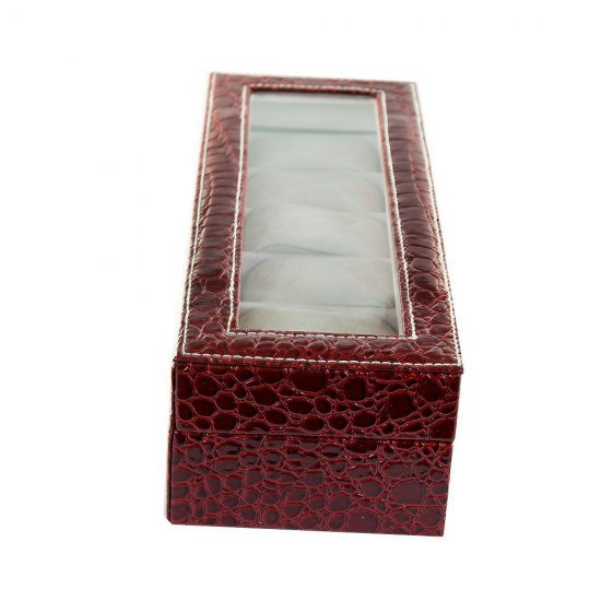 Cutie eleganta, pentru 6 ceasuri, model visiniu cu imprimeu crocodil