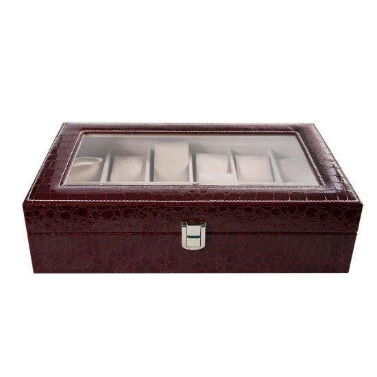 Cutie pentru 12 ceasuri, imprimeu crocodil visiniu