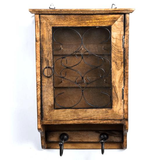 Cutie pentru chei si cuier din lemn ars