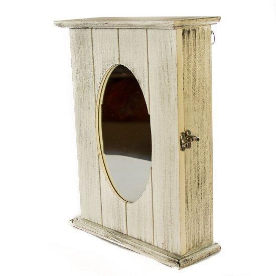 Cutie vintage, pentru chei, din lemn, cu oglinda