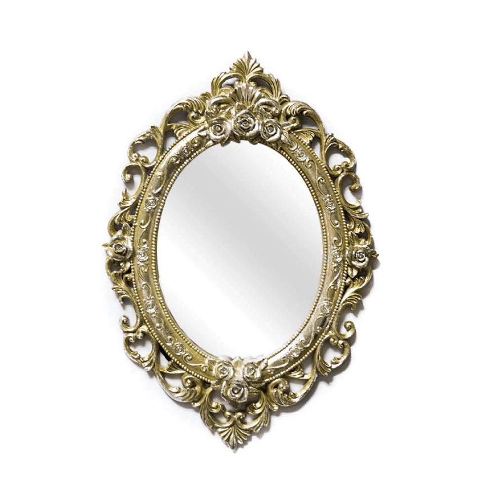 Oglinda ovala cu rama aurie si trandafiri in relief