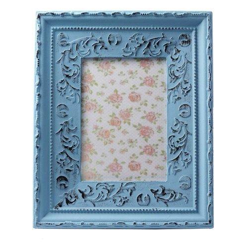 Rama foto albastra, aspect vintage, cu motive florale in relief