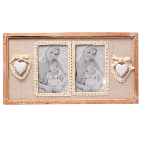 Rama foto dubla, din lemn, cu doua inimioare albe