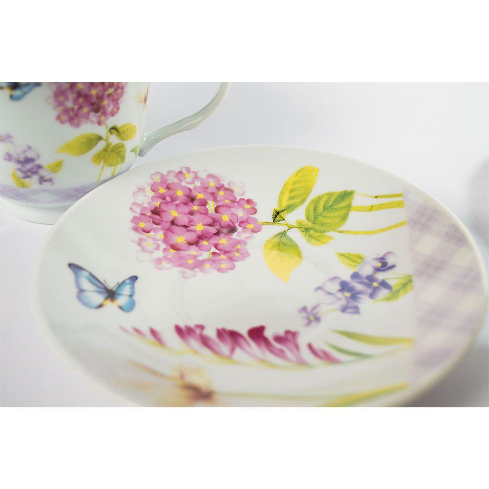 Set 2 cani cafea sau ceai cu imprimeu flori si fluturi