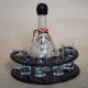Set 6 pahare de tuica si sticla in suport de lemn