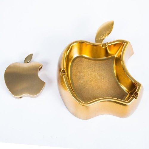Set Apple auriu cu bricheta si scrumiera