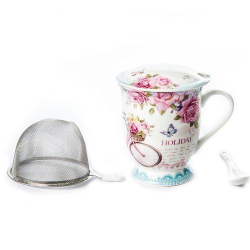 Set Cana De Ceai, Cu Infuzor Si Lingura, Model Cu Trandafiri