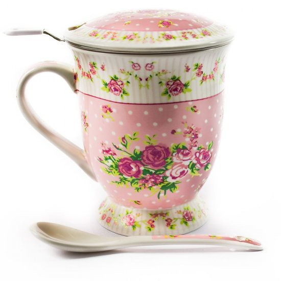 Set cana de ceai, cu infuzor si lingura, model floral roz