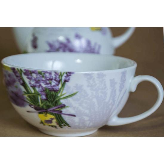 Set ceainic cu ceasca, model cu flori de lavanda