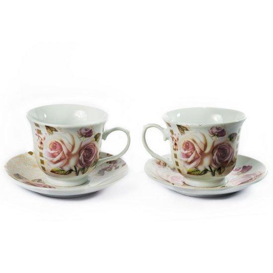 Set cuplu, de cafea sau ceai, model cu trandafiri