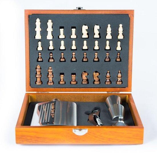 Set elegant de sah cu plosca, pahare si alte accesorii