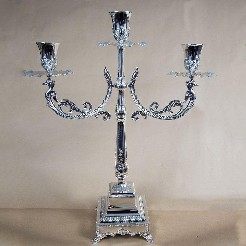 Sfesnic metalic argintiu cu 3 brate, decoratiune evenimente