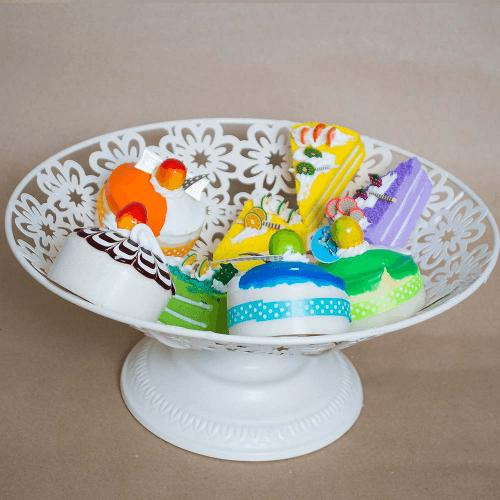 Suport pentru prajituri si fructe, cu model floral