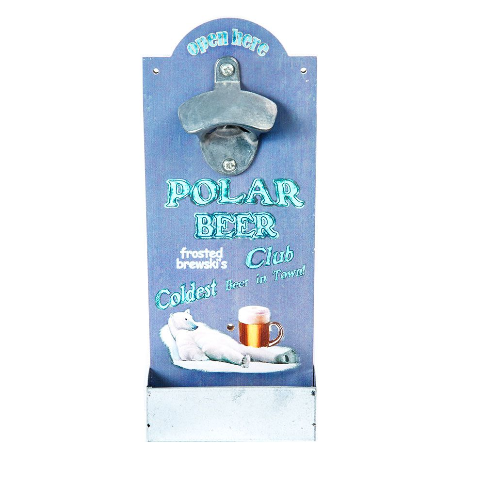 "Tablou vintage ""Polar beer"" desfacator sticle si suport capace"