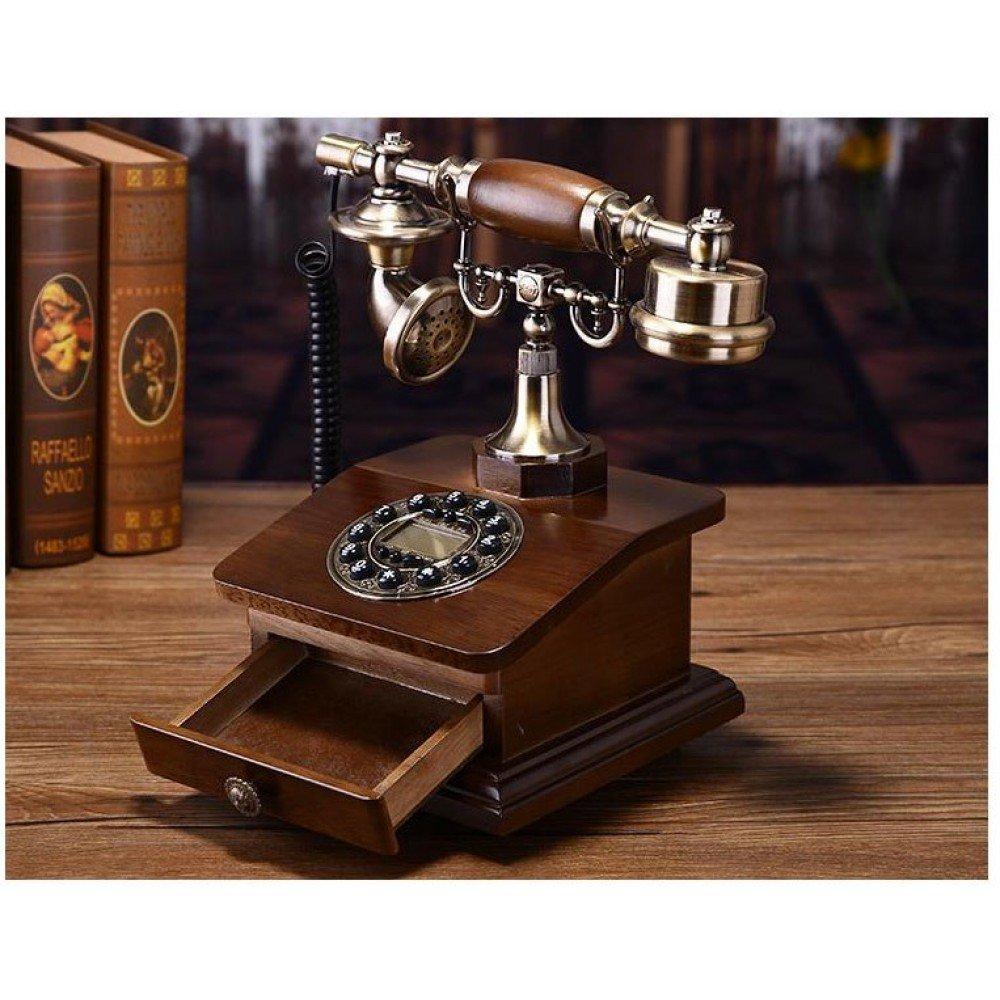 Telefon deosebit cu aspect vintage, din lemn