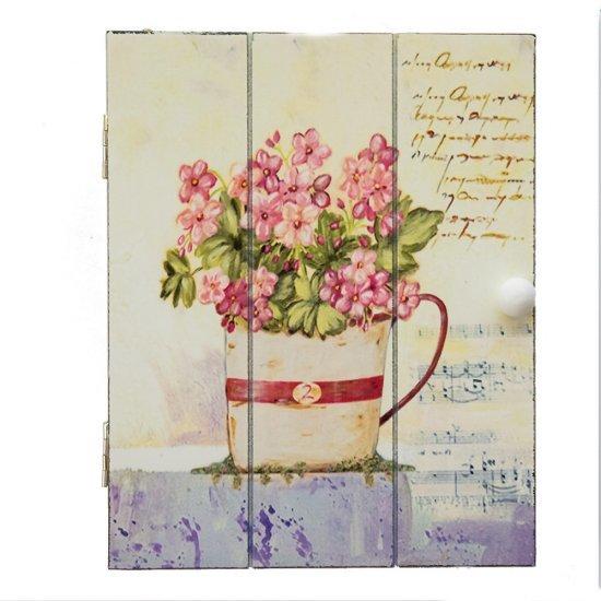 Cutie pentru chei cu flori roz si text in stil vintage