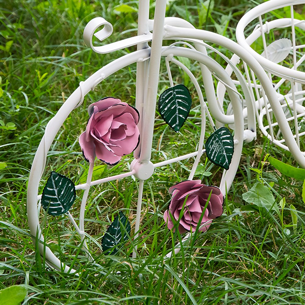 Suport flori bicicleta cu un singur cos decorat cu trandafiri