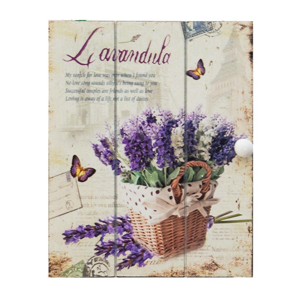 Cutie pentru chei cu flori de lavanda mov