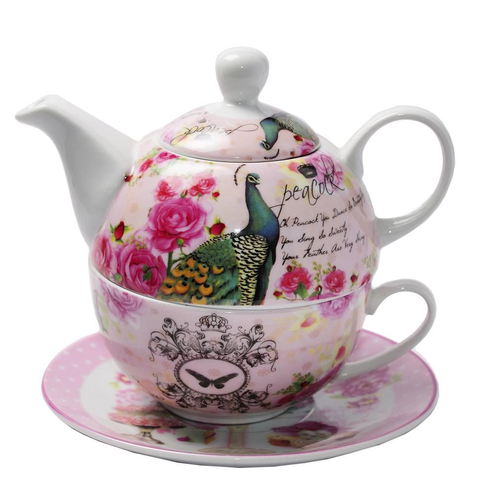 Set ceainic cu cana si farfurie, design paun albastru