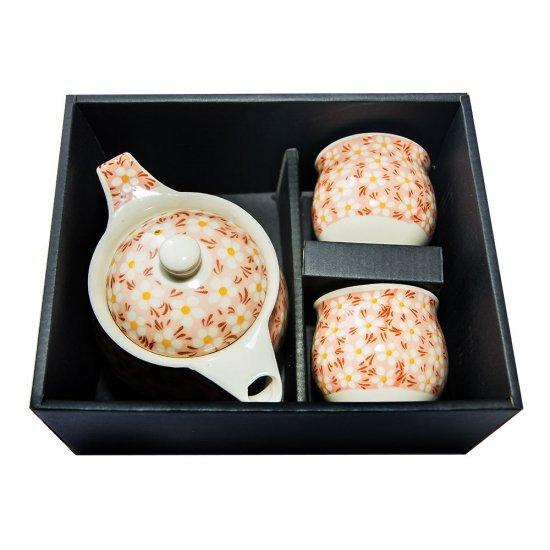 Set ceainic cu doua cani si ibric, model floral alb