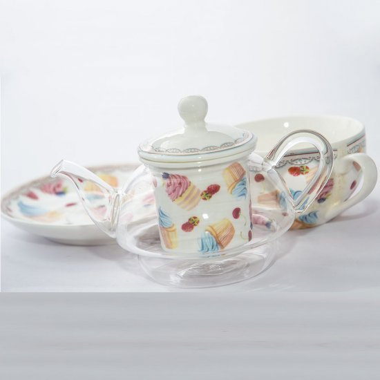 Set de ceai, model briose si fructe, cu ceainic transparent, cana si farfurie