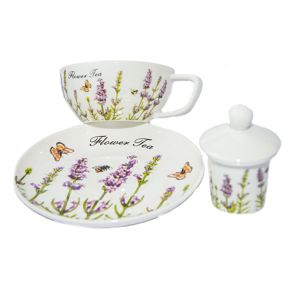 Set tea for one cu ceainic transparent, farfurie si cana, model lavanda