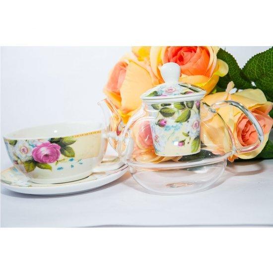 Ceainic cu infuzor  transparent, model cu trandafiri for one