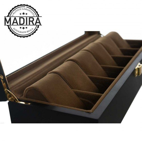 Cutie ceasuri negru mat din lemn cu interior de catifea maro