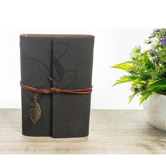 Agenda lata din piele ecologica neagra cu frunzulite